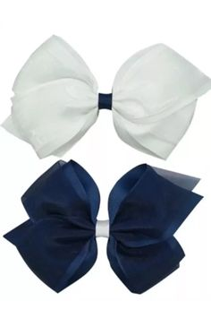 """Classy Navy & White 5"""" Organza Hair Bow Perfect for summer  Visit www.bowlicious.co.uk"""