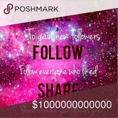 ??FOLLOW AND SHARE GAME?? Read for twist HELP ME REACH 10,000! AND I'M GOING TO HELP YOU TOO! I KNOW there are SO many of these floating around Poshmark BUT if you play, then you know how GREAT they work! We all know how this works BUT u would like to throw a little twist in here....  I PERSONALLY will share at least 5 items of EVERYONE who likes this post and I would like to ask EACH of you to commit to sharing at least one item from EVERY new person you begin to follow or follows you! We…
