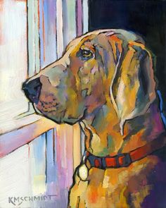 Just Animal Pet Art Paintings by Louisiana Artist Karen Mathison Schmidt: Impressionist Painting Colorful Hound Dog ArtIllustration Style Fauve Animal ArtNeighborhood Watch III