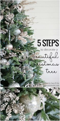 How to Decorate a Christmas Tree, in Just FIVE Steps! A beautiful well-decorated Christmas tree might look daunting, but this process will help you make it catalog-worthy, whether your style is more sparkly glam or more cottage rustic. Details from Silver Christmas Decorations, Ribbon On Christmas Tree, Christmas Tree Themes, Holiday Ornaments, Christmas Tree Simple, Christmas Wreaths, Flocked Christmas Trees, Xmas Trees, Christmas Tress Decorated