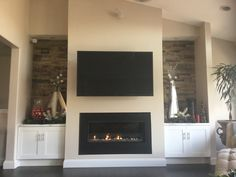 Last remodel project-great room addition. #greatroom, #fireplace, #stackedstone, #builtins.