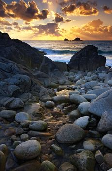 Porth Nanven Sunset, Cornwall, photographed by Helen Dixon
