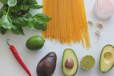 Pitsiniekka | Avocado Pasta Ingredients Avocado Pasta, Eggplant, Pesto, Fruit, Vegetables, Cooking, Food, Kitchen, Essen
