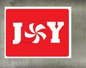 Joy Christmas Card with peppermint