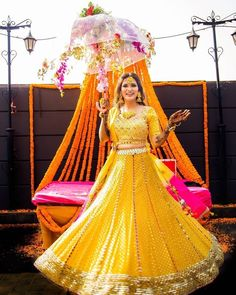 Presenting you latest Haldi Outfit ideas for Bride. From yellow haldi outfit to designer haldi outfit, we have got variety dresses. #shaadisaga #indianwedding #haldioutfitforbride #haldioutfitforbridelatest #haldioutfitforbrideunique #haldioutfitforbrideyellow #haldioutfitforbridesimple #haldioutfitforbridebest #haldioutfitforbridewhite #haldioutfitforbridesaree #haldioutfitforbridetrendy #haldilehenga #haldilehengayellow #haldilehengaforbride #haldilehengasimple #haldilehengadesigns #lehenga Mehendi Outfits, Bridal Outfits, Dress Outfits, Girl Outfits, Dresses, Mehndi Function, Haldi Function, Mehendi Decor Ideas, Mirror Work Lehenga