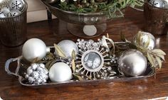 Display ornaments on silver tray…