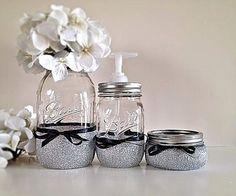 Mason Jars, Bathroom decor, Home decor, Housewares, Soap dispenser, Gift set on Etsy, $20.00
