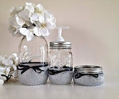 Mason Jars, Bathroom decor, Home decor, Housewares, Soap dispenser, Gift set on Etsy, $20.00