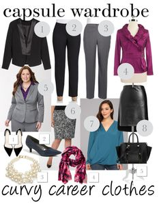Career outfits capsule wardrobe for #curvy and plus-size figures. [http://www.franticbutfabulous.com/capsule-wardrobe-curvy-career-clothes/]