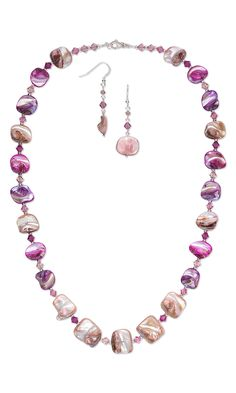 Jewelry Design - Single-Strand Necklace and Earring Set with Mother-of-Pearl Beads and Swarovski Crystal Beads - Fire Mountain Gems and Beads