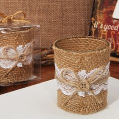 Lace and Burlap rustic candle holder-Burlap and lace candle holder favor. Each of Cassiani collections exclusive rustic glass candle holders are a unique design of burlap and lace fabric accented with a raffia ribbon bow and button. Candle Wedding Favors, Candle Holders Wedding, Candle Favors, Rustic Wedding Centerpieces, Rustic Candle Holders, Tealight Candle Holders, Glass Candle Holders, Votive Candles, Burlap Candles