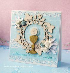 First communion card First Communion Cards, First Holy Communion, Seasons, Babys, Frame, Holiday, Kids, Scrapbooking, Google