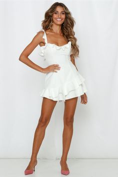 Get ALL of the likes in our All Your Life Romper! This sweet mini features frill shoulder straps, an invisible back zipper and a bodycon fit. It also has ruffle trimming throughout. White Playsuit, White Dress, Ruffle Trim, Ruffles, Afterpay Day, Hey Girl, Outfit Goals, Playsuits