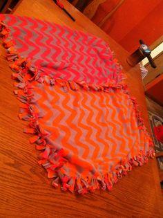 Bright pink & orange chevron with gray tie blanket