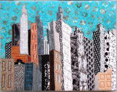 Cityscape - Fabric Art - Contemporary Textile Art Quilt. $145.00, via Etsy.