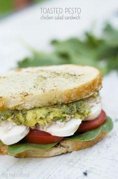 toasted pesto chicken salad sandwich | bigredclifford.com