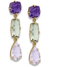 18k Yellow Gold Tri-Drop Earrings With Amethyst & Praziolite (6.435 BRL) ❤ liked on Polyvore featuring jewelry, earrings, gold earrings, 18k gold earrings, 18k gold jewelry, colorful earrings and 18 karat gold earrings