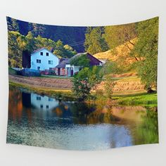 A summer evening along the river II Wall Tapestries, Tapestry, Summer Evening, Decorating Your Home, River, Landscape, Pets, Fun, Photography