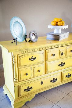 "Another piece finished with ""Mark Twain"" yellow from Lowes--just add BB Frösch Chalk Paint Powder"