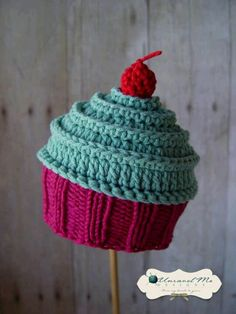 PDF Crochet Pattern and Crochet Knit pattern - Baby Cakes Cupcake Hat - Two  versions in one 607cda81a38