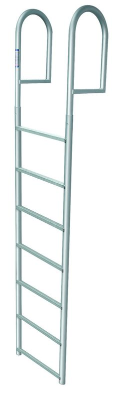 Seven Step Stationary Dock Ladder. This JIF Marine ladder (part #DJV7) is great for support on seawalls and stationary docks. Anodized Aluminum to prevent any type of rust.
