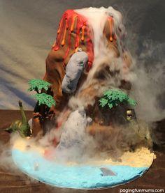 Dinosaur Volcano Cake
