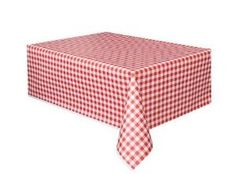 Party Clothes - Red and White Gingham Check Plastic Tablecloth NEW