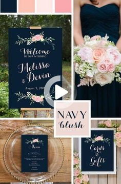 Blue Wedding Flowers Navy and Blush Pink Wedding Signs, printable. Poster size, and designs. Beautiful wedding colors, incorporating navy and blush pink, and coral. Navy Blush Weddings, Wedding Blush, Fall Wedding, Dream Wedding, Trendy Wedding, Wedding Ideas For Bride, Navy Spring Wedding, Boho Wedding, Wedding Table