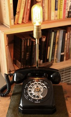 Upcycled Vintage Rotary Phone Brass Lamp