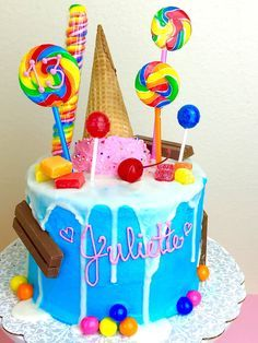 Candy Themed Cotton Candy Cake