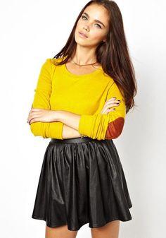 Yellow Patchwork Long Sleeve Sweatshirt