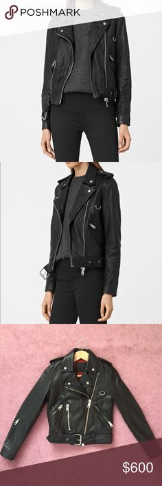 All Saints Black Gidley Leather Jacket - Size 0 A classic All Saints staple that wears beautifully over time, this leather jacket is as buttery soft as it is chic. Only worn a couple times with no imperfections. The Gidley jacket gives off a casual biker vibe with stunning hardware accents all over. Comfortable and form-fitting, true to size.  No trades, no checks. It is still selling for $670 on All Saints, so only accepting reasonable offers. 🌹🌹 All Saints Jackets & Coats