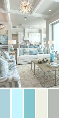 7 Best Living Room Color Schemes Sure to Brighten Your Mood ~ Popular Living Room Design Source by Coastal Living Rooms, Living Room Interior, Home Living Room, Living Room Decor Beach, Turquoise Living Rooms, Coastal Bedrooms, Apartment Living, Beach House Decor, Turquoise Home Decor