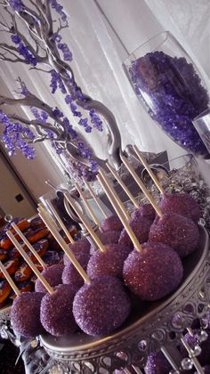 Purple , Glam & Blinged Out candy table...(maybe add more white)