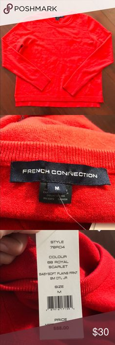 French Connection Scarlet Sweater Perfect Everyday Sweater.  This sweater is very soft and comfy.  It is brand new and has never been worn. French Connection Sweaters Crew & Scoop Necks