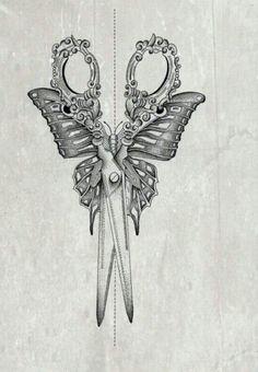 Pretty sewing scissors, butterfly tattoo idea tattoo designs ideas männer männer ideen old school quotes sketches Cosmetology Tattoos, Hairdresser Tattoos, Hairstylist Tattoos, Future Tattoos, Love Tattoos, Beautiful Tattoos, Body Art Tattoos, Tattoo Drawings, Shear Tattoos