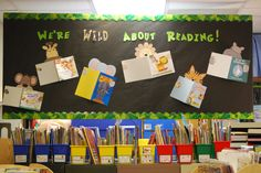 jungle bulletin board...  Wild about kindergarten, wild about reading, wild about winter, wild about fall...easily change from month to month.