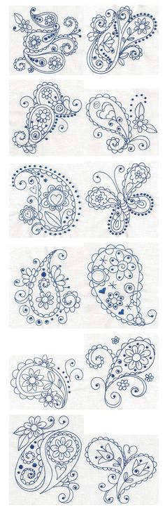 Paisley Blues Redwork machine embroidery designs by Designs by JuJu: Embroidery Stitches, Embroidery Patterns, Hand Embroidery, Machine Embroidery, Paisley Embroidery, Piping Patterns, Doodles Zentangles, Zentangle Patterns, Zendoodle