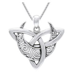 Carolina Glamour Collection Sterling Silver Celtic Trinity Moon Necklace