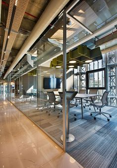 Industrial Office Interior with Exposed Services #industrialofficedesigns