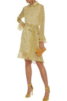 Shop on-sale Belted ruffle-trimmed floral-print georgette dress. Browse other discount designer Knee Length Dress & more luxury fashion pieces at THE OUTNET Coat Dress, Jacket Dress, Belts For Women, Clothes For Women, Dresses For Sale, Dress Sale, Denim Shop, Pastel Yellow, Knee Length Dresses