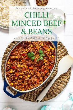 Tasty, cheap and versatile, this chilli mince beef and beans will save you money. Serve on rice or on corn chips topped with cheese for nachos. Frugal Recipes, Healthy Recipes On A Budget, Frugal Meals, Bean Recipes, Healthy Food, Beef And Beans Recipe, Mince Recipes, Hidden Veggies, Corn Chips