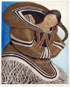Mother and Child by Inuit artist Germaine Arnaktauyok Arte Inuit, Inuit Art, Native American Artists, Canadian Artists, Claudia Tremblay, American Indian Art, Indigenous Art, Aboriginal Art, Native Art