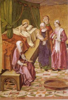 Pedro Berruguete, Nacimiento de la virgen, (c.  1485-90). Museo Diocesano, Palencia.