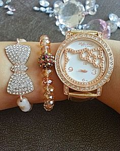 Rose Gold Hello Kitty Watch and Swarovski Bead Bracelet Set (in gift box)