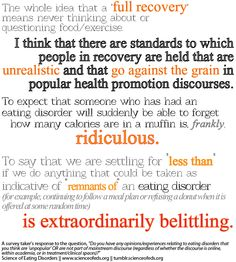 Unrealistic standards in recovery. #anorexia #recovery #eatingdisorders