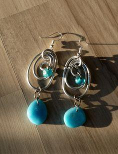Boucles d'oreilles Bohême Chic, Boucles style beachglass, Faites Main : Boucles d'oreille par cyane-art-contemporain