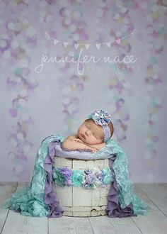 Lila SET lavender and aqua ruffle chiffon by babybirdieboutique, $55.00