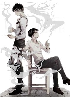 "Eren & Levi | Shingeki no Kyojin.  I find this funny because some of the smoke looks like it's coming from off levi implying that levi is ""extremely hot"", just thought I'd say that"