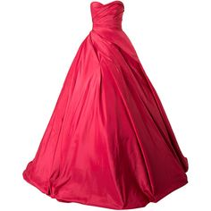 Romona Keveza strapless gathered ballgown (48.330 BRL) ❤ liked on Polyvore featuring dresses, gowns, red, sparkly evening dresses, strapless evening gown, cocktail dresses, evening dresses and red dress